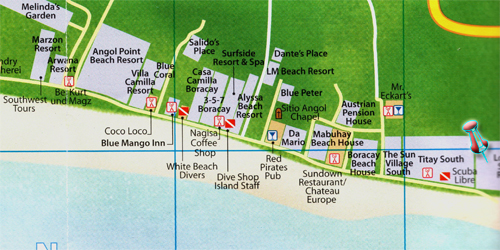 Hotel Isla (Lorenzo) Resort  Boracay beach resort vicinity map in Boracay island